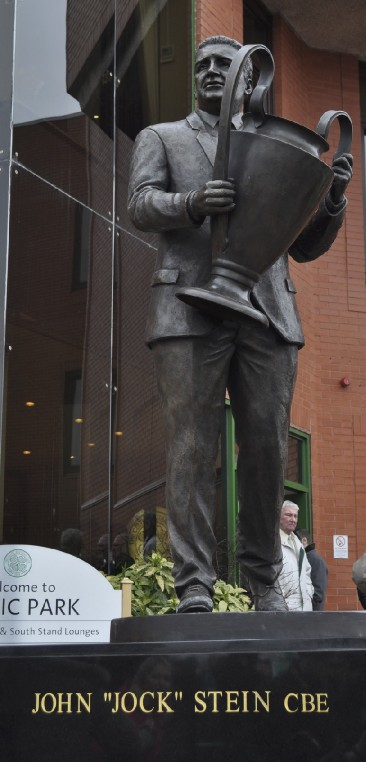 Jock Stein memorial bronze statue outside the Celtic Parkhead stadium, created by John McKenna a4a art for architecture studio foundry, Ayrshire, Scotland