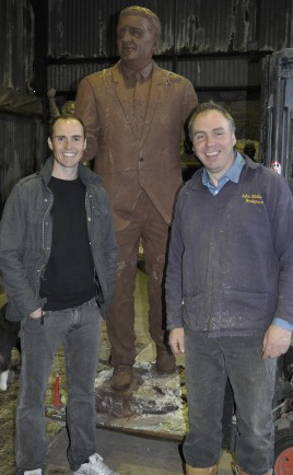 John McKenna and John Gartland, with the claywork of the Jock Stein memorial bronze statue cast at his a4a art for architecture studio bronze foundry, Ayrshire, Scotland