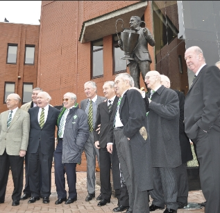 Lisbon Lions and Fergus McCann unveiling the Jock Stein memorial bronze statue outside the Celtic Parkhead stadium, created by John McKenna a4a art for architecture studio fooundry, Ayrshire, Scotland