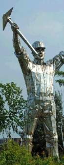 John McKenna sculpture A4A Art for Architecture www.a4a.com miner statue stainless steel colossus brownhills